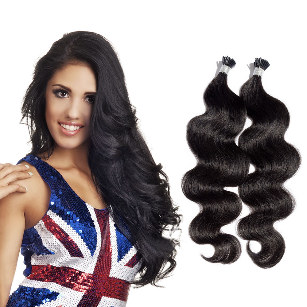 6 - 30 Inch #1 Jet Black Stick I Tip Body Wave Real Human Hair Extensions 100S