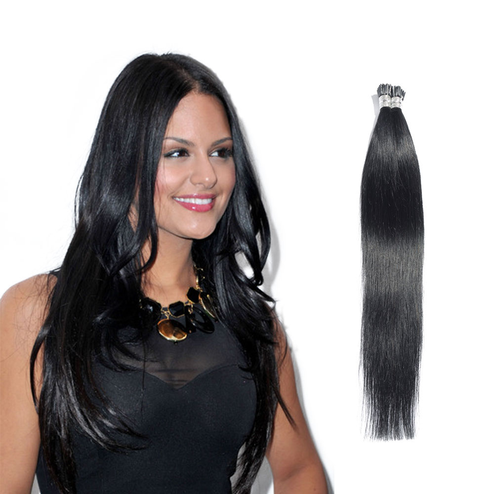 6 - 30 Inch #1 Jet Black Stick I Tip Straight Real Human Hair Extensions 100S