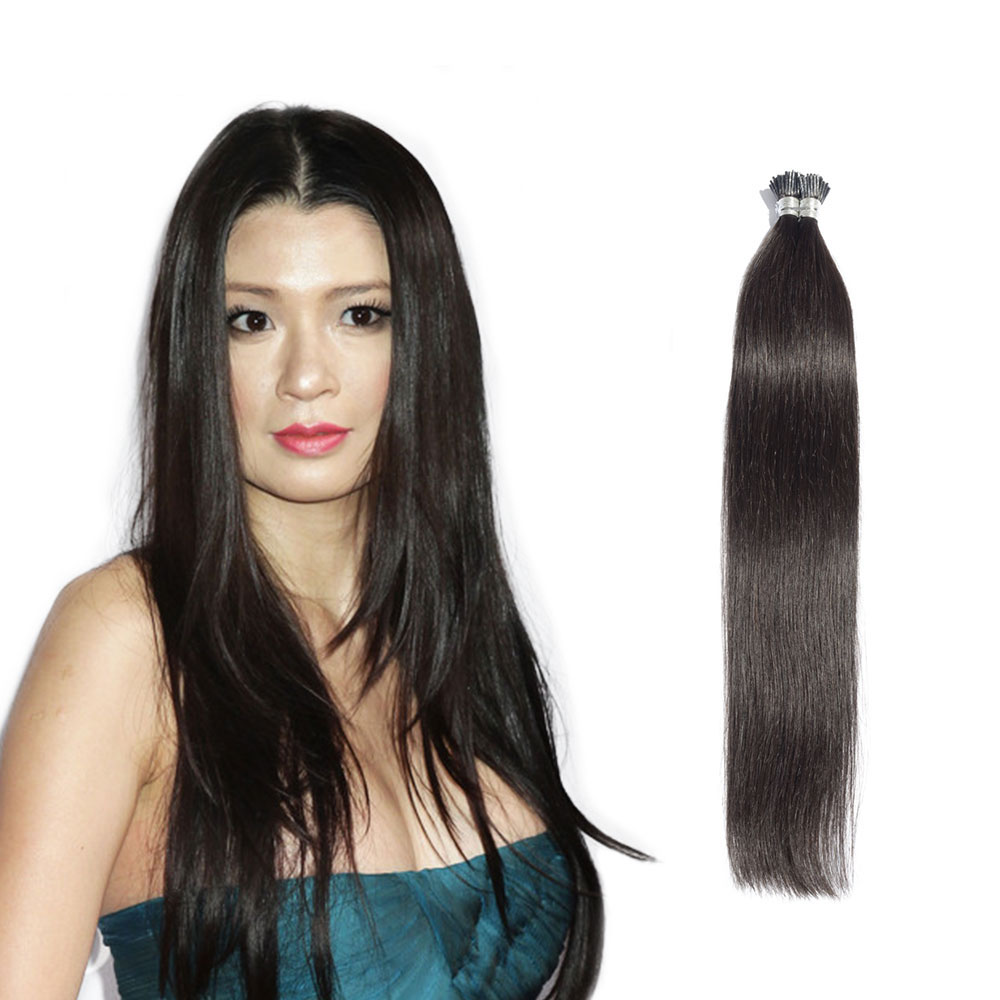 6 - 34 Inch #1B Natural Black Stick I Tip Straight Real Human Hair Extensions 100S
