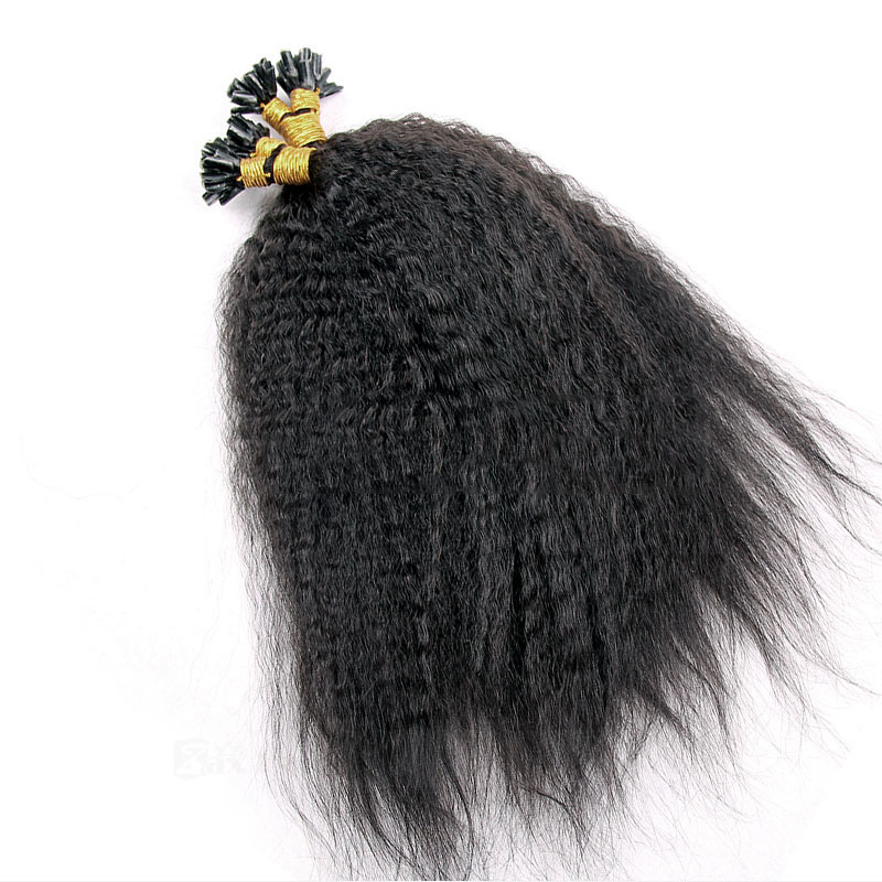 6 - 30 Inch #1B Natural Black Yaki Kinky Straight Nail U Tip Remy Human Hair Extensions 100s