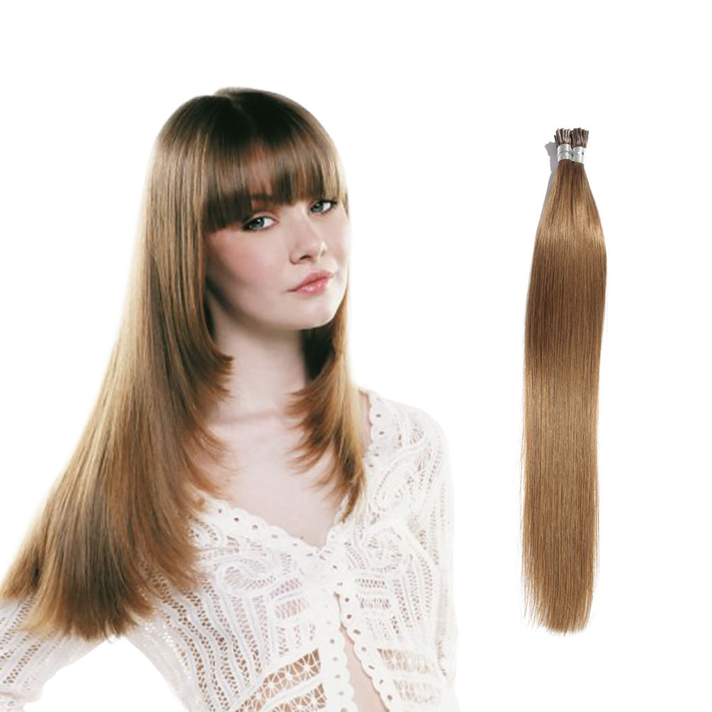6 - 30 Inch #12 Golden Brown Stick I Tip Straight Real Human Hair Extensions 100S