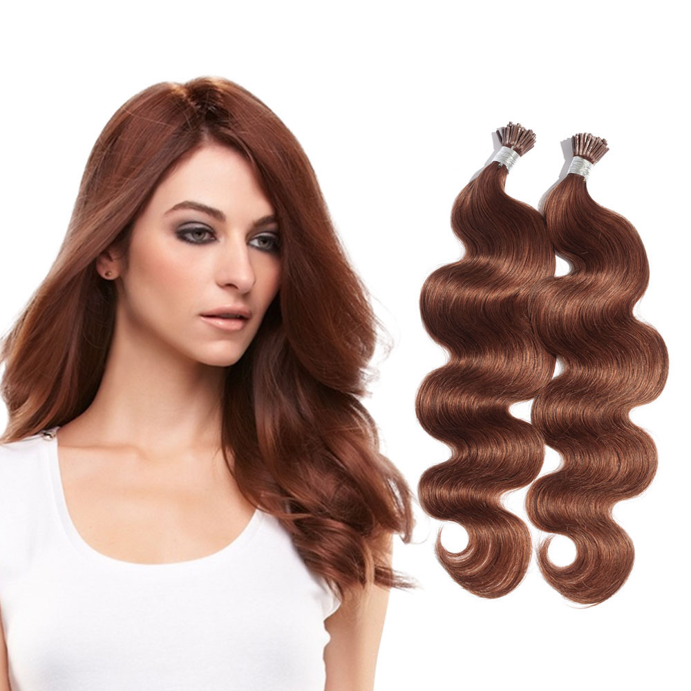 6 - 30 Inch #33 Dark Auburn Stick I Tip Body Wave Real Human Hair Extensions 100S 0