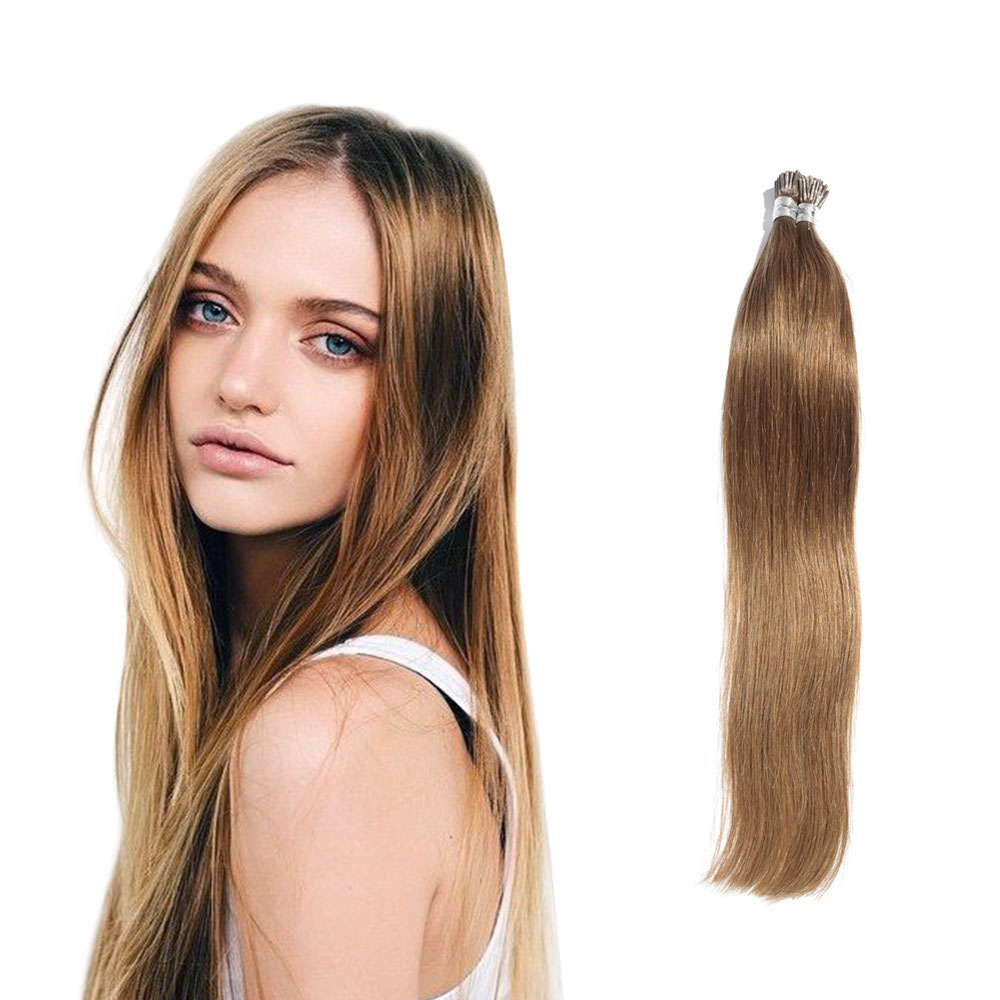 6 - 30 Inch #6 Light Brown Stick I Tip Straight Real Human Hair Extensions 100S