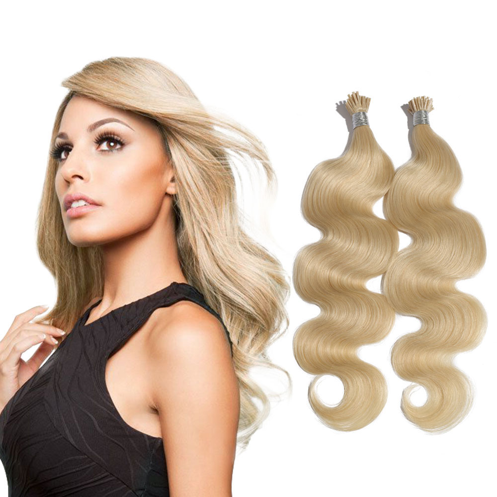 6 - 30 Inch #60 White Blonde Stick I Tip Body Wave Real Human Hair Extensions 100S