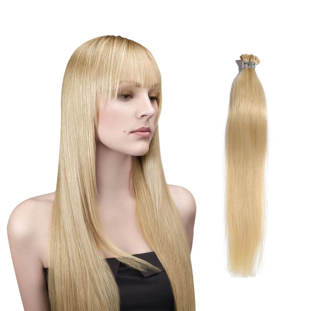 6 - 30 Inch #60 White Blonde Stick I Tip Straight Real Human Hair Extensions 100S 0