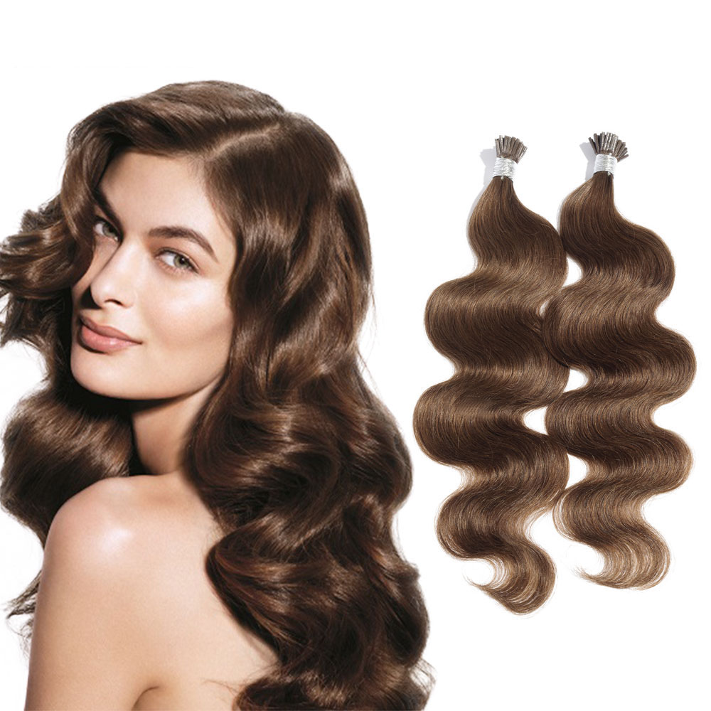 6 - 30 Inch #8 Ash Brown Stick I Tip Body Wave Real Human Hair Extensions 100S