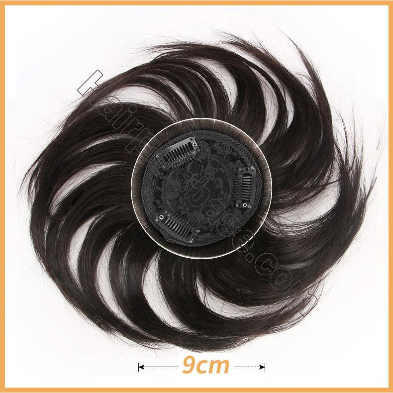6 Inch Human Hair Topper Clip in Top Crown Hairpieces for Thinning Hair 4