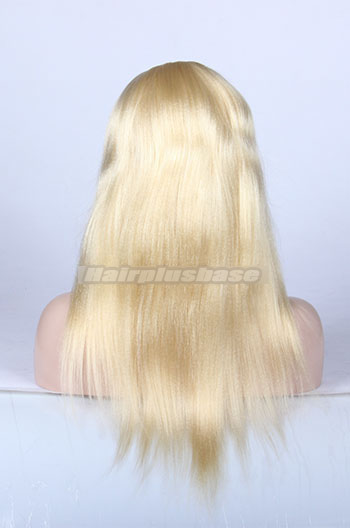 16 Inch #613 Bleached Blonde Chinese Virgin Hair Light Yaki Full Lace Wigs