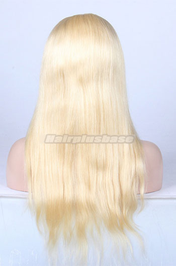 18 Inch #613 Bleached Blonde Chinese Virgin Hair Natural Straight Full Lace Wigs