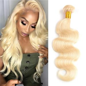 613 Blonde Body Wave Hair 1 Piece Deal Soft Thick Human Hair Bundles 10-24 Inch