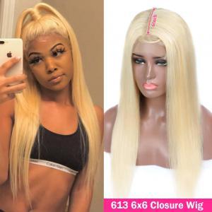 613 Blonde Straight And Body Wave 6*6 Lace Closure Wigs For Women 8-30Inch