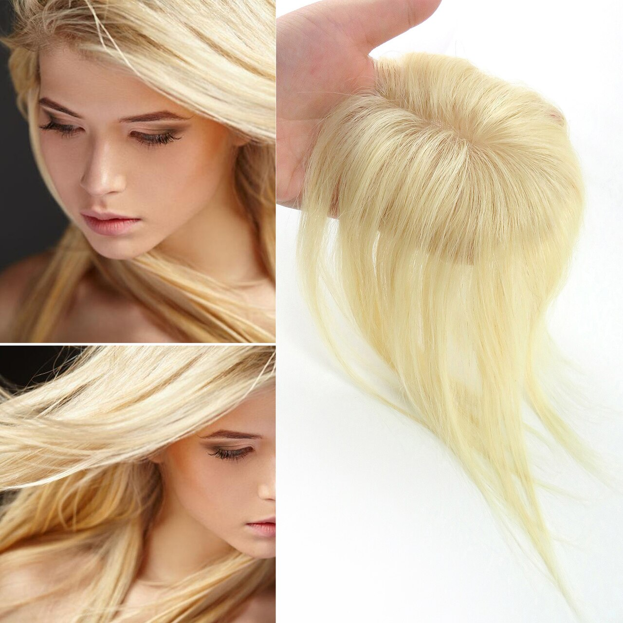 613# Straight Remy Human Hair Topper Hairpiece Clip In Silk Top Toupee Women