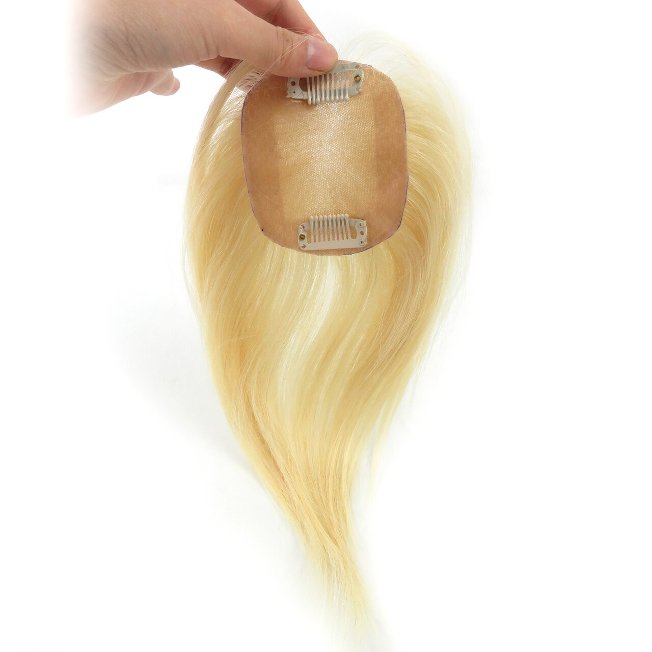 613# Straight Remy Human Hair Topper Hairpiece Clip In Silk Top Toupee Women 3
