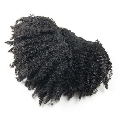 8 - 26 Inch #1B Natural Black Afro Kinky Curly Brazilian Virgin Hair Wefts
