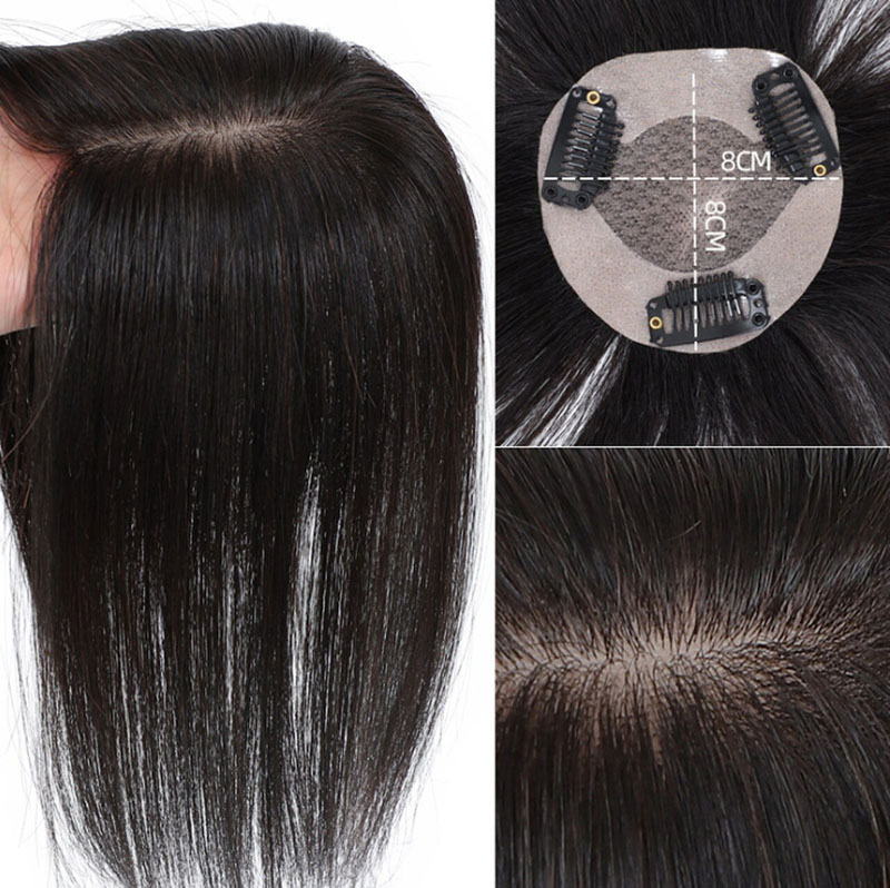 8x8cm Real Thick 100% Virgin Human Hair Straight Topper MONO Hairpiece Toupee Hair