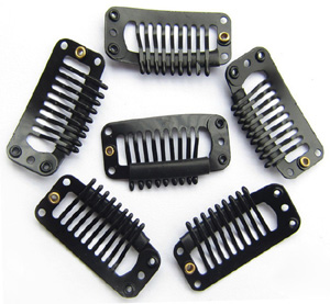 9 Teeth Black Steel Hair Extension Clips 20pcs