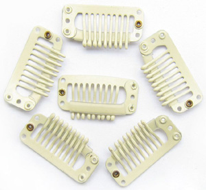 9 Teeth Blonde Steel Hair Extension Clips 20pcs