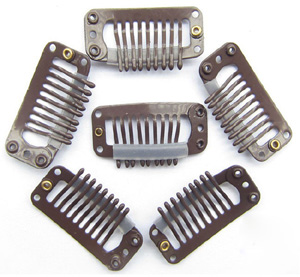 9 Teeth Brown Steel Hair Extension Clips 20pcs