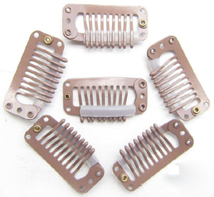 9 Teeth Light Brown Steel Hair Extension Clips 20pcs