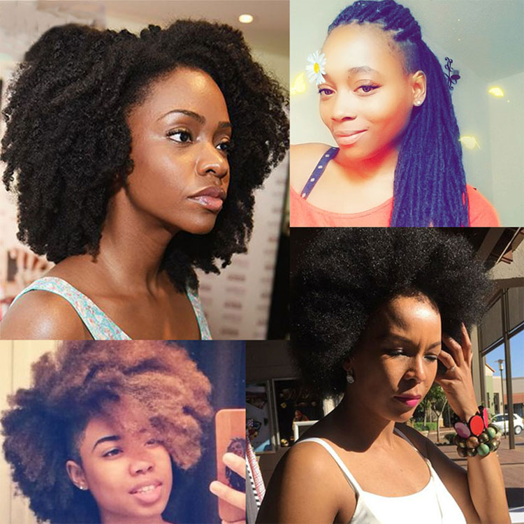 Afro Kinky Bulk 100% Remy Human Hair Mongolian 50g Hair Crochet Braiding 1