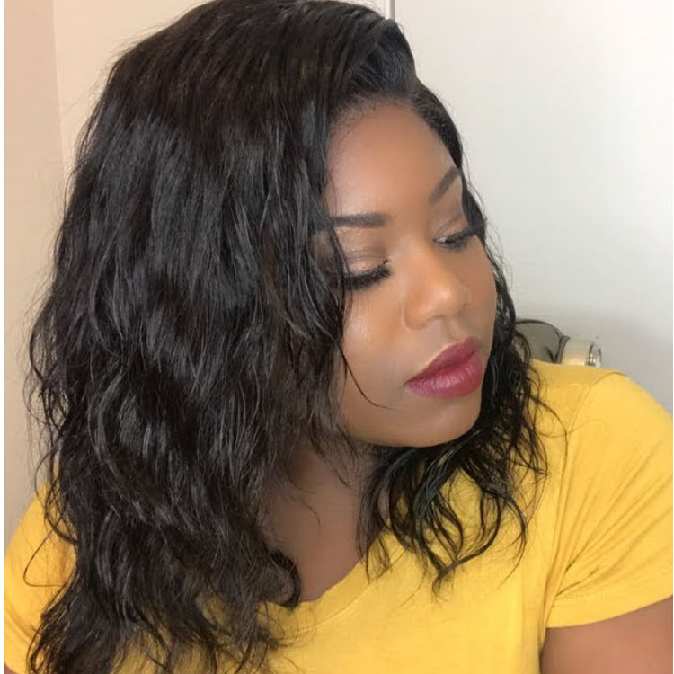 Choppy Bob Style Middle Part Black Human Hair Lace Wigs