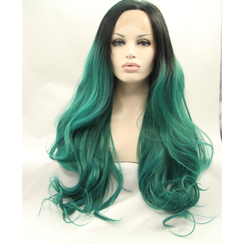 Black Mix Green Ombre Wavy Synthetic Lace Front Wigs