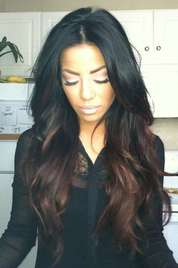 20 Inch Black To Brown Ombre Wavy Human Hair Celebrity Lace Wigs