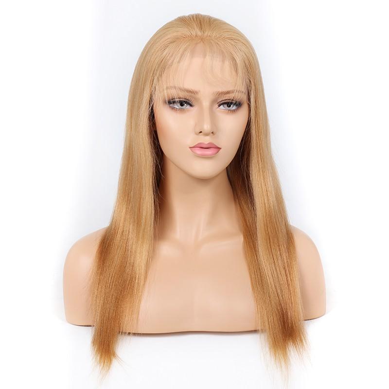 Blonde #27 Color Glueless Full Lace Wigs Peruvian Virgin Hair Light Yaki 0