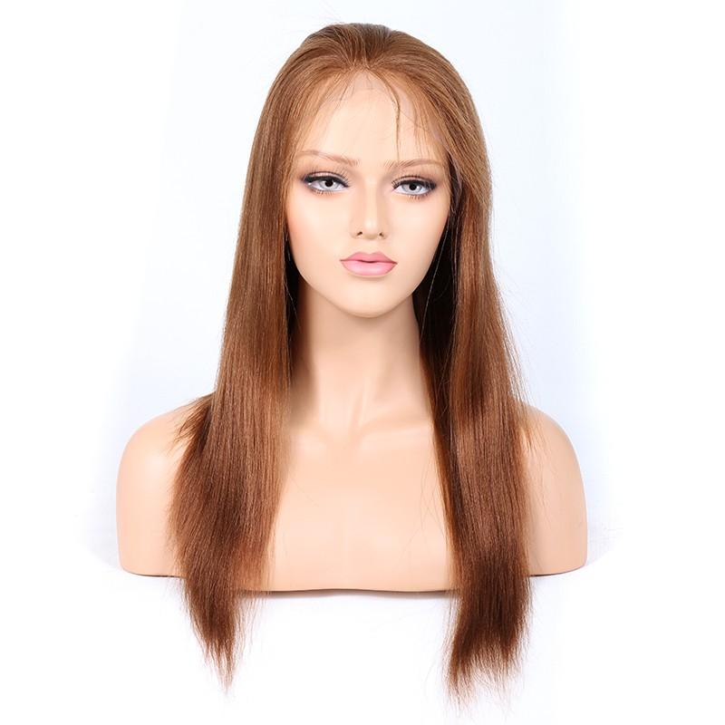 Blonde #30 Color Glueless Full Lace Wigs Peruvian Virgin Hair Light Yaki 0