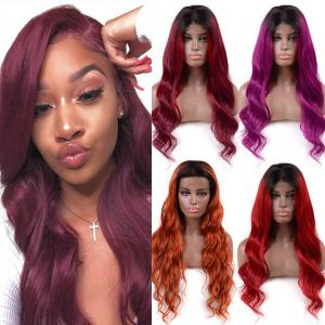 Body Wave 150%-200% Density Human Hair Ombre Lace Front Wig For Black Women