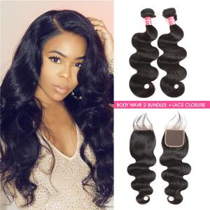 Body Wave 2 Bundles With 4*4 Lace Closure Human Hair Virgin Hair