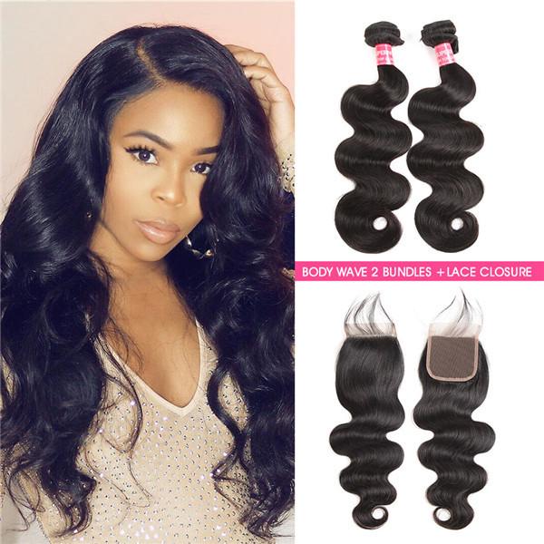 Body Wave 2 Bundles With 4*4 Lace Closure Human Hair Virgin Hair 8