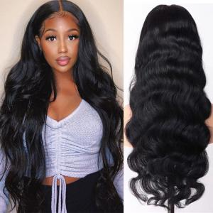Body Wave 24-40Inch Long 13*6 Human Hair Lace Front Wigs Pre-plucked With Baby Hair