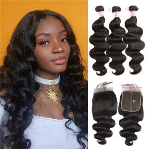 Body Wave 3 Bundles With 7*7 Inch Lace Closure Virgin Human hair