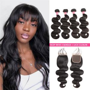Body Wave Hair 4 Bundles And Body Wave Virgin Hair 4*4 Lace Closures