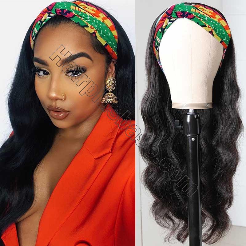 Body Wave Scarf Wigs 100% Virgin Human Hair Headband Wig No Glue & No Sew 3