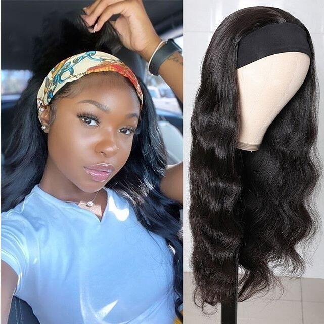 Body Wave Scarf Wigs 100% Virgin Human Hair Headband Wig No Glue & No Sew 4