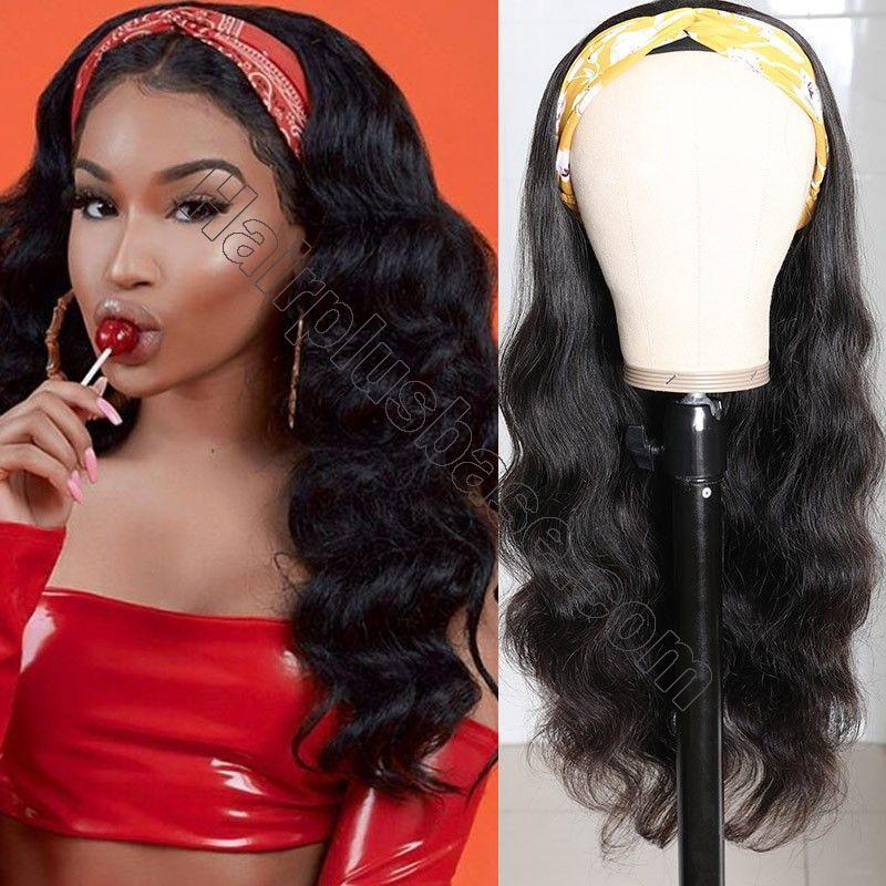 Body Wave Scarf Wigs 100% Virgin Human Hair Headband Wig No Glue & No Sew 5