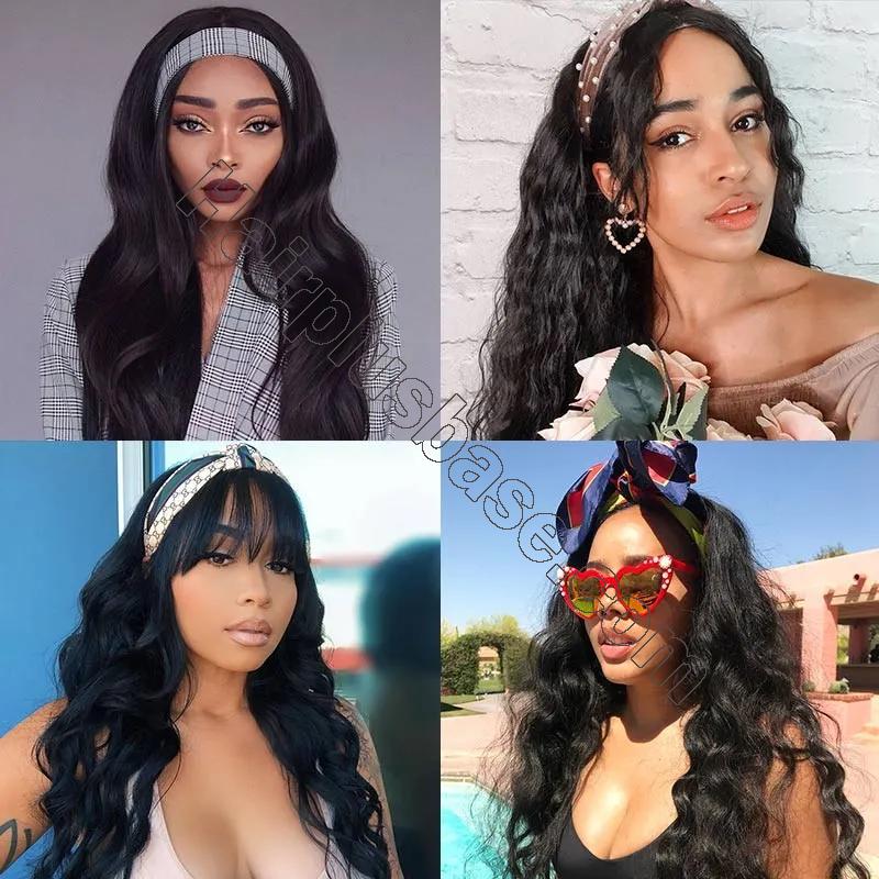 Body Wave Scarf Wigs 100% Virgin Human Hair Headband Wig No Glue & No Sew 6