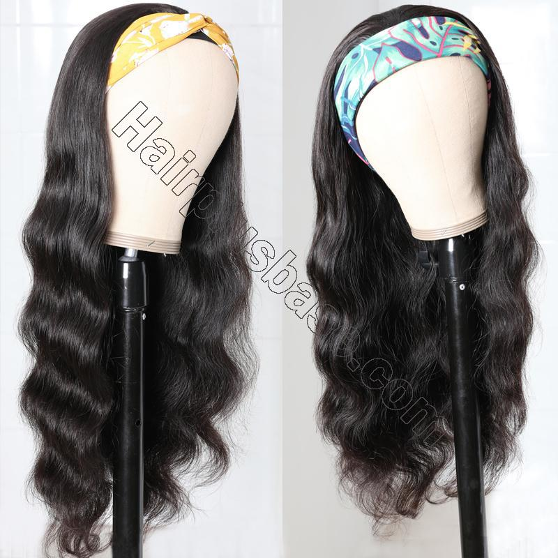 Body Wave Scarf Wigs 100% Virgin Human Hair Headband Wig No Glue & No Sew 7