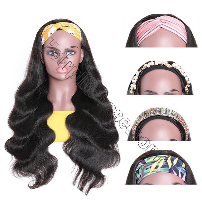 Body Wave Scarf Wigs 100% Virgin Human Hair Headband Wig No Glue & No Sew 8
