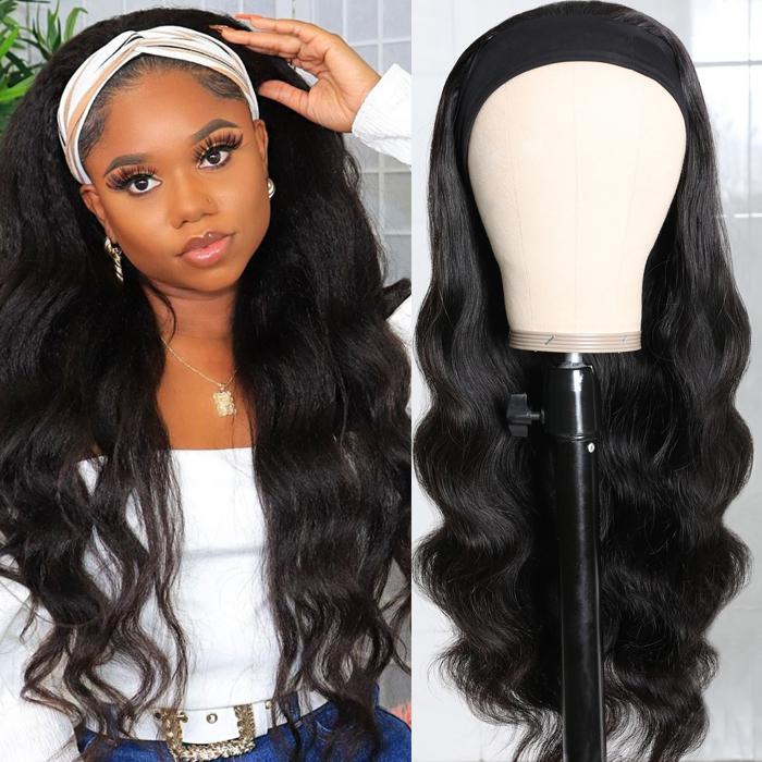 Body Wave Scarf Wigs 100% Virgin Human Hair Headband Wig No Glue & No Sew 11