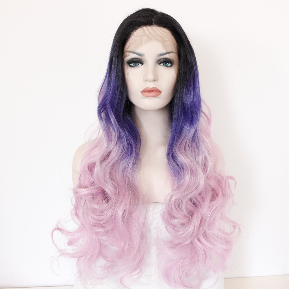 Body Wave Three Tones Black Purple Pink Ombre Lace Front Wig