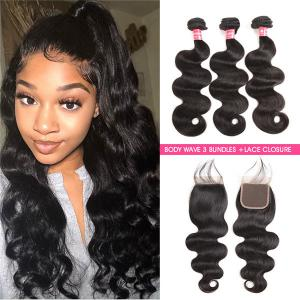 Body Wave Weave 3 Bundles With 4*4 Lace Closure Virgin Hair