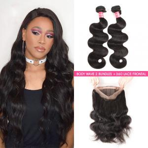 Body Wave Weave Hair 2 Bundles With 360 Lace Frontal Pre-Plucked For Sale