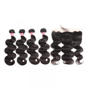 Body Wave Weave Peruvian Virgin Hair Bundles With Lace Frontal