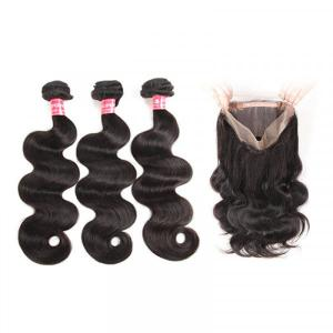 Brazilian Hair Body Wave Weave 3 Bundles With 360 Lace frontal Hair For Sale