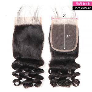 Brazilian Loose Wave Hair 5x5 Human Hair Lace Closure Virgin Human Hair Clsoure