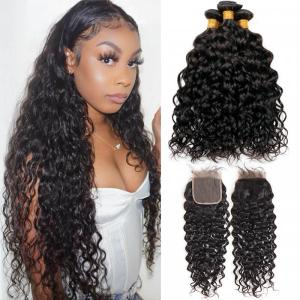 Brazilian Natural Wave 3 Human Hair Bundles With Closure Naturally Curly Weave