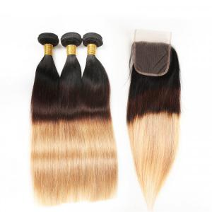 Brazilian Straight Hair 1B/4/27 Ombre Color Hair 3 Bundles With Closure